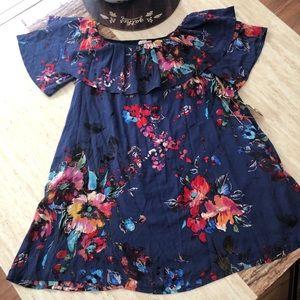 Off the shoulder floral print dress with pockets